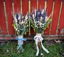 wedding photo - Rustic Woodland Bouquet. Bride/Bridesmaid. Lavender, Larkspur, Various Wildflowers, Grasses, Lichen. Wedding, Home Decor, Mother's Day