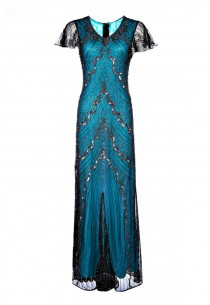 wedding photo - Sandra Blue Embellished Dress, 1920s Great Gatsby Style Dress, Special Occasion, Long Sequin Maxi Gown, 20s Cocktail Dress, Plus Size, M-3XL