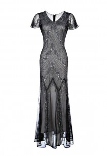 wedding photo - Ellen Grey Embellished Flapper Dress, 1920s Great Gatsby Style Dress, Downton Abbey, Sequin Prom Dress, Evening Ball Gown, Plus Size M-XXL