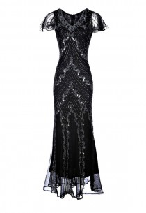 Dame Black Beaded Flapper Dress, 1920s Great Gatsby Dress, Embellished Cocktail Dress, 20s Style Evening Gown, Plus Size Dress, M-XXL
