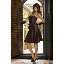 wedding photo - Nectarean A-line Strapless Bow(s) Ruching Knee-length Taffeta Bridesmaid Dresses - Dressesular.com
