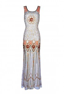 wedding photo - Kelly 20s Great Gatsby Style, Wedding Sequin Dress, Art Deco Maxi Dress, Downton Abbey, Off White Beaded Flapper Dress, Evening Gown, M-XL