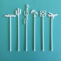 wedding photo - Palm Springs Party Drink Stirrers - Palm Springs Bachelorette - Set of 6 Laser Cut Acrylic Stir Sticks
