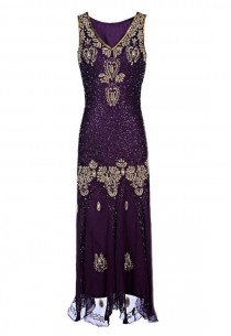 wedding photo - Lizy 1920s Great Gatsby Style Dress, Beaded Flapper Dress, Embellished Gold Sequin Dress, Bohemian Dress, Purple Maxi Evening Dress, M-XXL