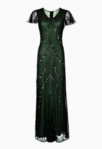 wedding photo - SALE Green Embellished Maxi Dress, 1920s Great Gatsby Style, Roaring 20s, Beaded Flapper Dress, Evening Gown, Sequin Dress, Plus Size, XXXL