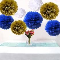 wedding photo - 18PCS Mixed Royal Blue White Gold DIY Tissue Paper Flower Pompoms Wedding Shower Birthday Party Nursery Hanging Decoration