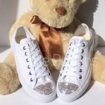 All White Bedazzled Converse Wedding Shoes 519add48c