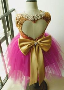 wedding photo - Tutu Sequined Flower Girls Dress Gold Sequined Top With Light Plum Skirt Birthday Party Dress Pearl Neckline