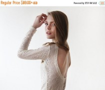 wedding photo - Clearance Sale Backless Ivory lace top , Lace long sleeves blouse, Ivory formal lace blouse 2032