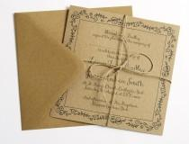 wedding photo - Pollyanna Pretty Eco Recycled Kraft Wedding Invitation SAMPLE