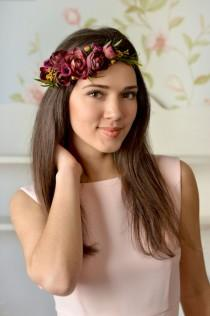wedding photo - Boho Wedding floral crown Purple Ranunculus hair wreath Bridal burgundy head piece flower bridal headband wedding burgundy hair accessory