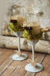 wedding photo - Rustic Wedding Champagne Flutes Wedding Champagne Glasses Outdoor Country Barnyard Vintage Wedding