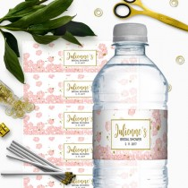 wedding photo - Pink and Gold Bridal Shower Water Bottle Labels-Glitter Modern Floral DIY Printable Personalized Bridal Shower Water Bottle Labels Wrappers