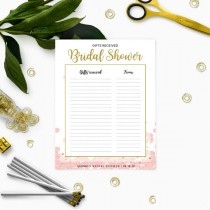 wedding photo -  Pink and gold Floral Bridal Shower Gifts List Personalized Template-Bridal Shower Gifts Received-DIY Printable List of Received Gifts