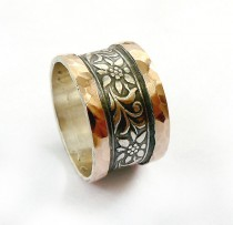 wedding photo - Wide silver wedding ring, gorgeous flower design, red gold sheets soldered on edges, flower and leaf pattern, spring wedding, Ilan Amir