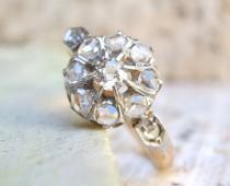 wedding photo - Victorian Diamond Ring, Vintage Engagement Ring, 1870's