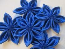 wedding photo - Royal Blue Kanzashi Flowers, DIY Wedding Supplies, Bridal Millinery Supply, Sapphire Loose Flowers, DIY Hair- Headband, Fascinator Supply