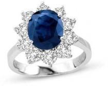 wedding photo - Precious BrideTM Oval Blue Sapphire and 1-1/2 CT. T.W. Diamond Frame Engagement Ring in 14K White Gold