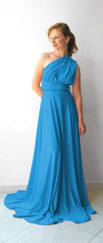 wedding photo - Blue turquoise Infinity Dress - floor length  long straps blue turquoise color wrap dress
