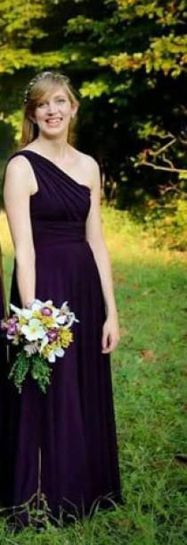 wedding photo - Dark purple Infinity Dress - floor length  long  wrap dress