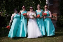 wedding photo - Infinity blue bridesmaid dress Convertible Dress - floor length  long straps in pool water color wrap dress
