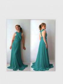wedding photo - Infinity Dress in dark  teal color- floor length