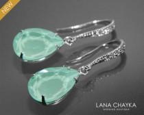 wedding photo - Mint Green Crystal Earrings Swarovski Light Green Rhinestone Silver CZ Earrings Wedding Pastel Green Crystal Earrings Mint Green Jewelry