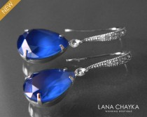 wedding photo - Royal Blue Crystal Earrings Blue Silver CZ Rhinestone Teardrop Earrings Swarovski Royal Blue Bridesmaid Earrings Wedding Bridal Earrings