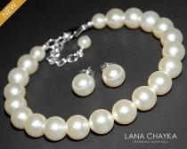 wedding photo - Pearl Bridal Jewelry Set Ivory Pearl Bracelet&Earrings Set Swarovski Pearls Wedding Pearl Jewelry Sets Pearl Bracelet and Earrings Set Bride