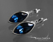 wedding photo - Navy Blue Crystal Marquise Earrings Swarovski Montana Blue Silver Leverback Earrings Wedding Bridesmaid Navy Blue Jewelry Dark Blue Earrings