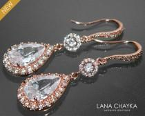 wedding photo - Rose Gold Crystal Bridal Earrings Cubic Zirconia Chandelier Wedding Earrings Rose Gold Dangle CZ Earrings Sparkly Bridal Crystal Jewelry