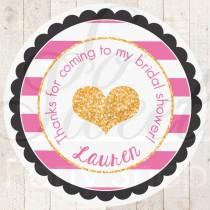 wedding photo - Bridal Shower Favor Sticker Labels - Bachelorette Party Thank You Tags - Pink, Black and Gold Heart - Kate Spade Inspired - Set of 24