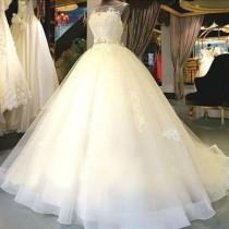 wedding photo - Cheap Popular Stunning Ivory Lace Top A-line Wedding Dresses, Bridal Gown, WD0017