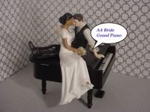 wedding photo - Black Baby Grand Piano Music lover Mixed Couple Funny Love AA Bride Short Sleeve Dress Brown hair Groom Musical Wedding Cake Topper-Ethnic