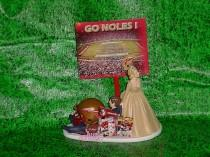 wedding photo - College Football Florida State Seminoles University Fun Grooms Wedding Cake topper-Bride Pulling Groom-Mr & Mrs Funny Weddins- 4B