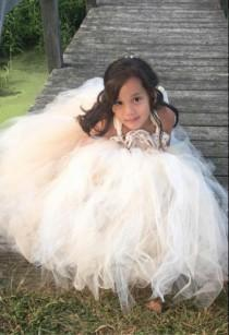 wedding photo - Ivory and Beige Flower Girl Dress -  Flower Girl Tulle Dress - Tulle Dress - Birthday Dress - My Precious Tutu - Champagne Tutu