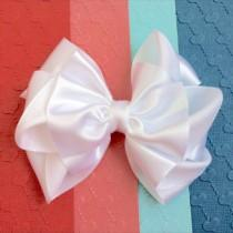 wedding photo - Flower girls, White satin hair bow, Satin hair bow for flower girls, bridesmaid, bridal hair bow, wedding hair bow, special occasion, baptis