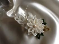 wedding photo - Hair Clip - Ivory Kanzashi Flower With Pearls - Bridal Hair Flowers Wedding Flowers