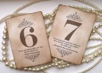 wedding photo - Wedding Table Numbers, Vintage Table Numbers, Quotes Table Numbers, Amaretto Wedding, Vintage Wedding Signs, Wedding Place Cards, Favor Tags