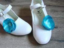 wedding photo - Blue shoe clips, Blue shoe accessorry, Blue flower shoe clips, Flower shoe clips, Shoe clips flower, Shoe clips Blue poppy, Shoe flowers