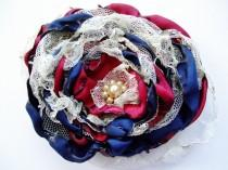 wedding photo - Navy Blue and Red Flower Accessory,Wedding Hair Flower, Bridal Sash, Maternity Sash, Bridal Hair Piece, Fourth of July Flower
