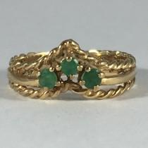 wedding photo - Vintage Emerald Wishbone Band. 9K Yellow Gold. Unique Engagement Ring. Wedding Band. Estate Jewelry. May Birthstone. 20th Anniversary