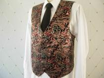 wedding photo - Men's Vest, Brocade, Black Vest, Wedding Vest, Groom Vest, Groomsmen Vest, Men's Waistcoat, Men's Suit, Businessman Vest, Men's Brocade Vest