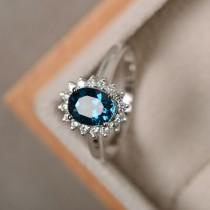 wedding photo - London blue topaz ring, sterling silver, blue gemstone, promise ring, engagement ring, oval cut ring