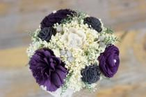 wedding photo - Bridesmaids Bouquet,Purple, Charcoal Grey, Violet Sola Flower Bouquet, Handmade Bouquet, Keepsake Bouquet, Alternative Bouquet