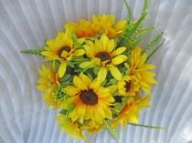 wedding photo - Rustic Sunflower Bouquet, Country Sunflower Bouquet, Sunflower Bouquet, Sunflower with Jute Ribbon, Sunflower and Greens, Yellow Bouquet