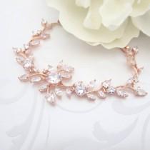 wedding photo - Rose Gold bridal bracelet, Crystal Wedding bracelet, Bridal jewelry, Rose Gold jewelry, CZ bracelet, Bridesmaid bracelet, Bridesmaid jewelry