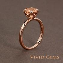 wedding photo - Peachy Pink Morganite Rose Gold Ring,  Cushion Tulip Solitaire Engagement Ring, solid 14k rose gold