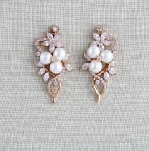 wedding photo - Crystal Bridal earrings, Rose Gold earrings, Bridal jewelry, Pearl earrings, Wedding jewelry, Simple earrings, Swarovski earrings, MIA