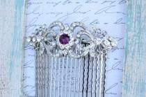 wedding photo - dark purple amethyst lavender silver swarovski crystal rhinestone bridal hair comb art deco wedding head piece headpiece vintage inspired